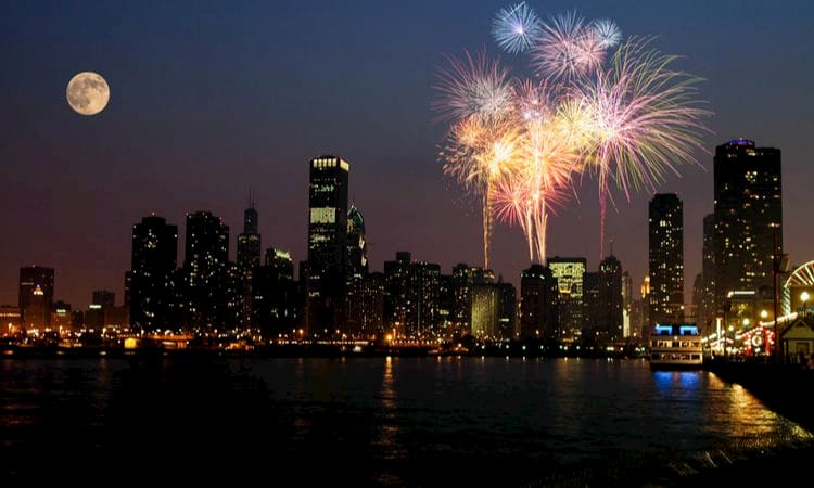 fireworks explode in the night sky over chicago