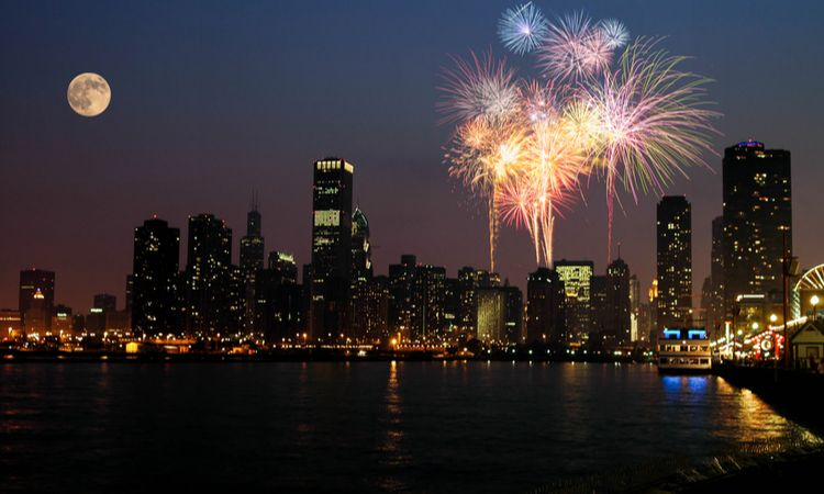 fireworks at navy pier in the evening