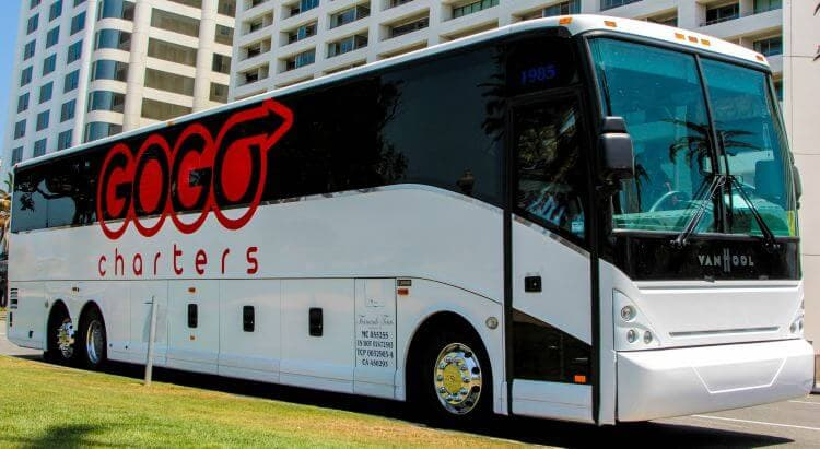 gogo charters bus parked outside a city street