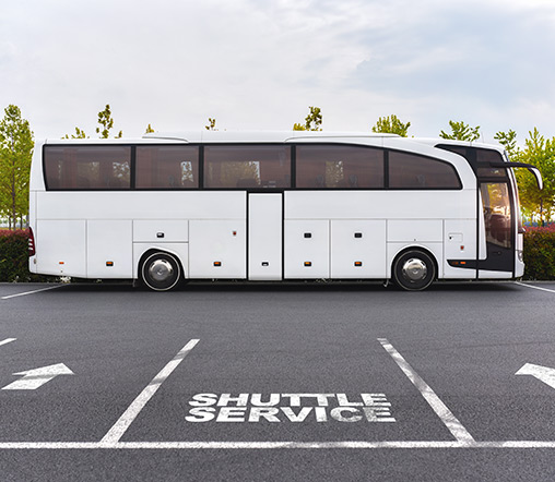 a shuttle bus prepares for departure