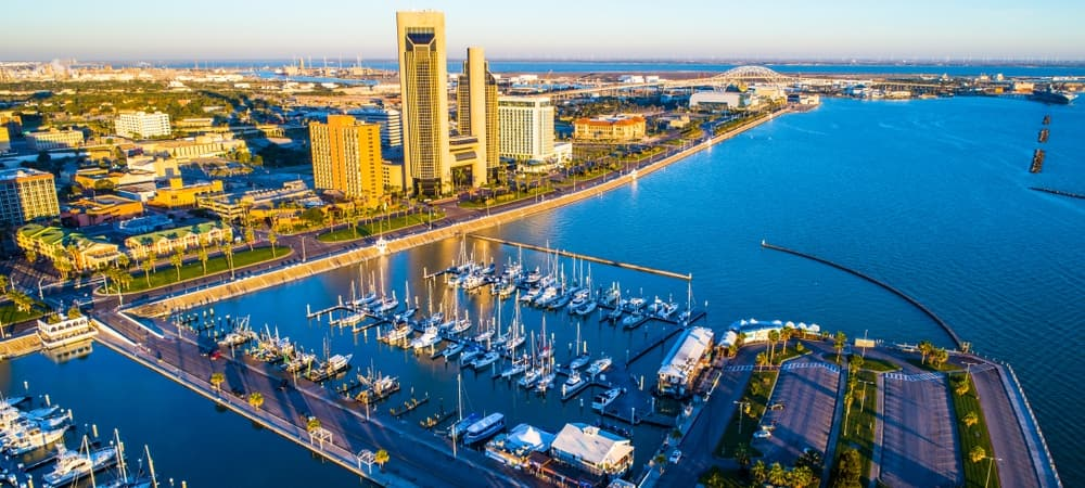 aerial shot of Corpus Christi docks and buildings
