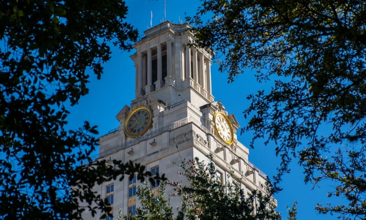 a view of the University of Texas bell tower