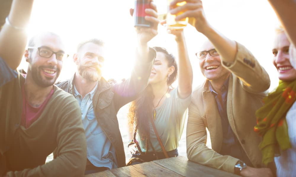 A group of party attendees toast their glasses of beer at an outdoor event