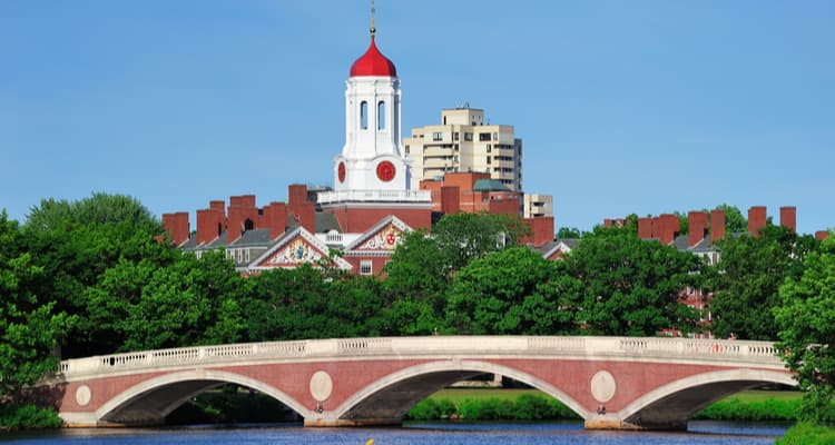 bridge and clocktower at harvard university