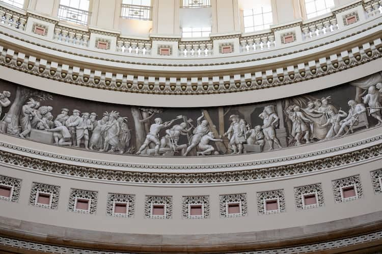 The interior rotunda of the US Capitol in Washington DC