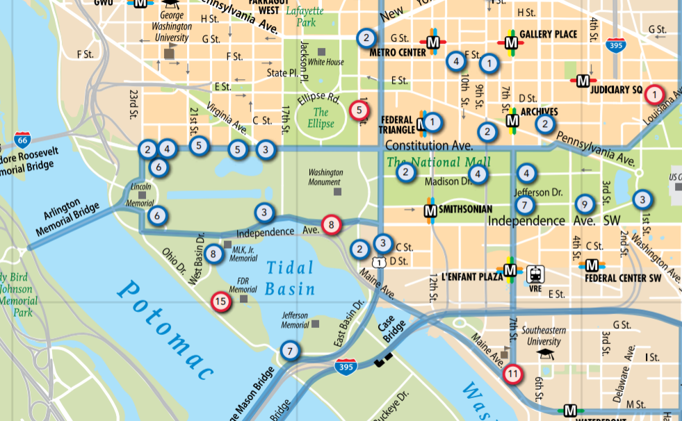 map of motorcoach loading and unloading areas near the tidal basin in washington dc