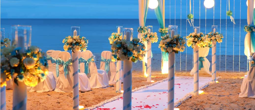 wedding ceremony decorations on the beach
