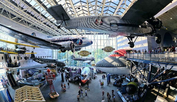 interior of the national air and space museum in washington dc