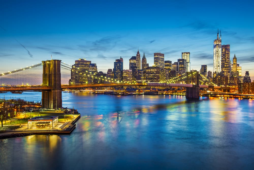 a view of the new york city skyline from across the river