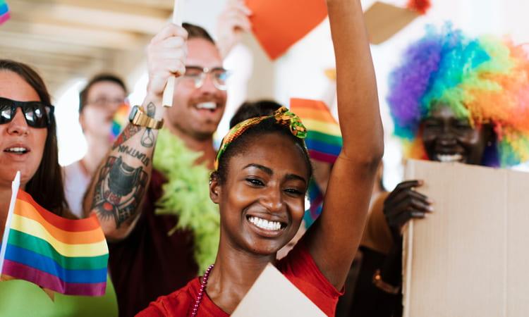 diverse people at a pride parade