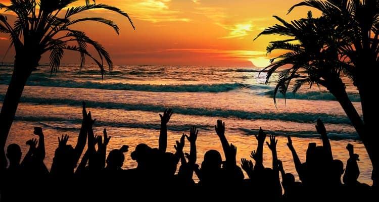 panama city beach florida beachfront party at sunset