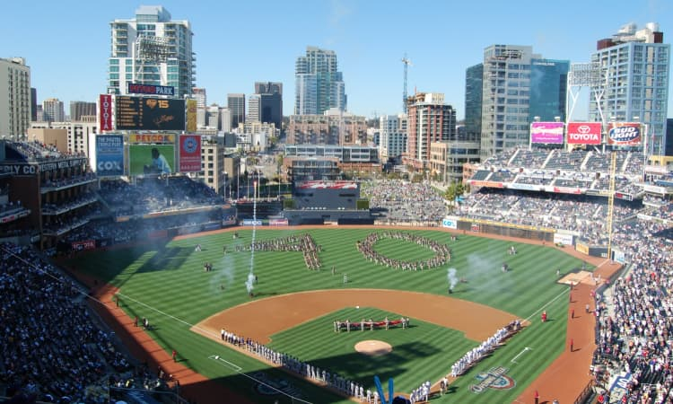 Crowds gather on the field at Petco Park for an anniversary event