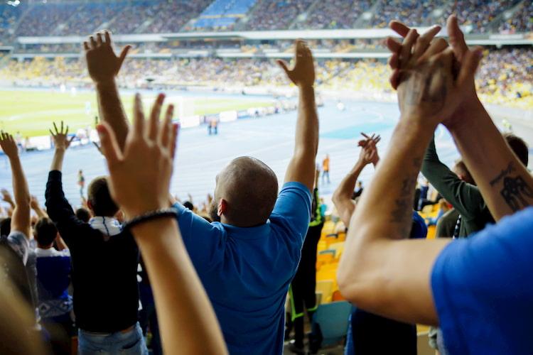 fans cheer on their Phoenix team inside a stadium