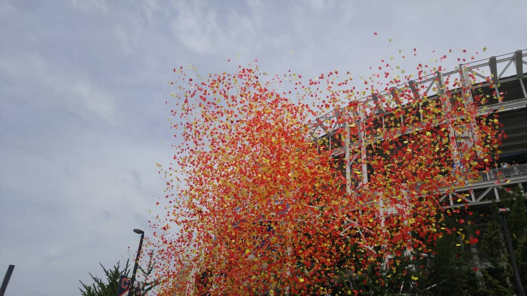 confetti flies in the air at progressive field in cleveland