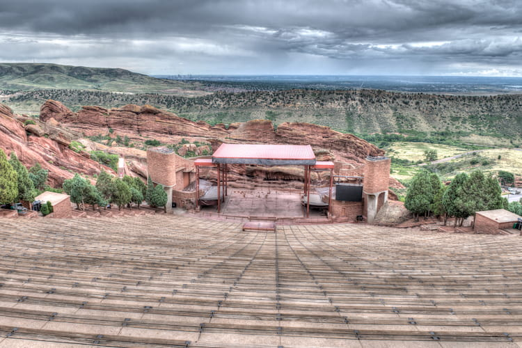 a view of the amphitheater stage at red rocks park in denver