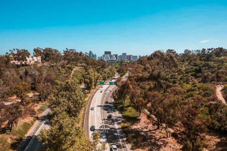 San Diego skyline and highways