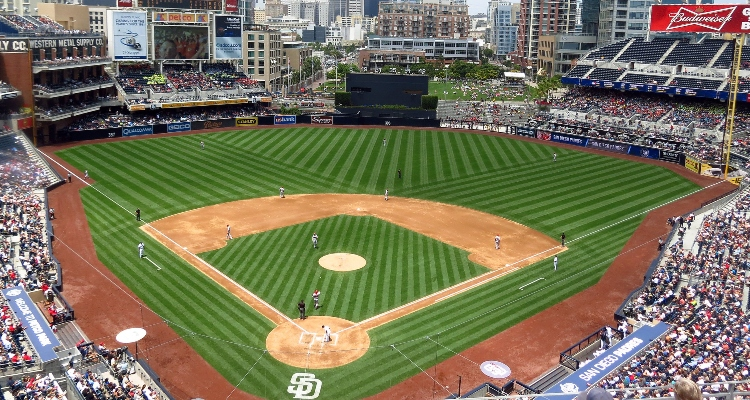 aerial view of petco park in san diego