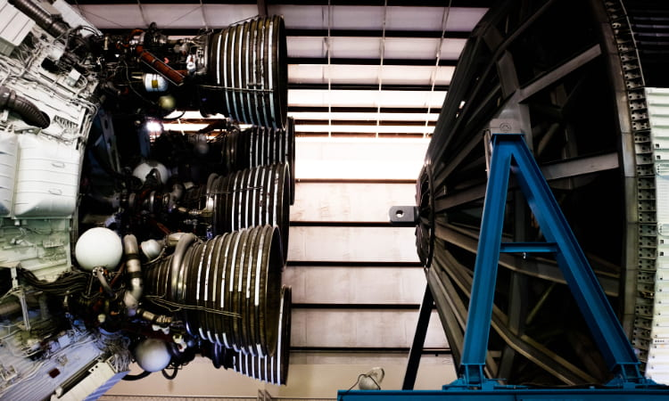 Saturn V rocket thrusters at space center Houston