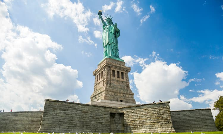 up close view of the statue of liberty pedestal