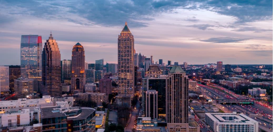 Downtown Atlanta at sunset