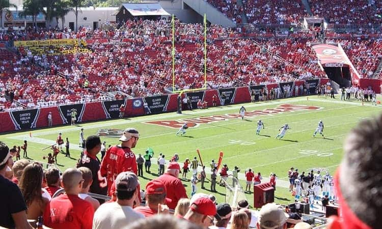 Fans cheering on the Tampa Bay Buccaneers
