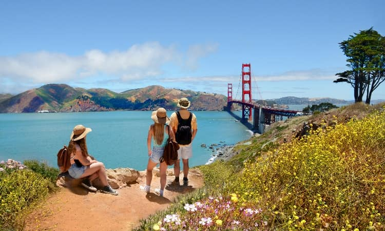 Tourists gazing out at San Francisco's landscape