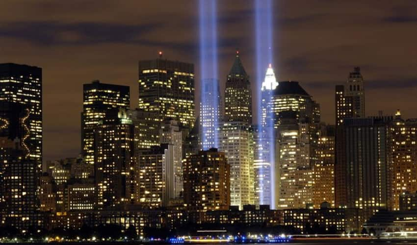 Memorial image with lights where Twin Towers once stood