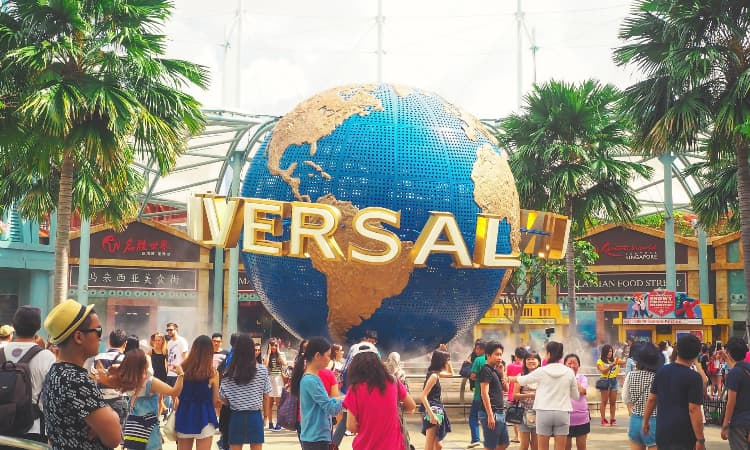 guests around the universal studios hollywood globe