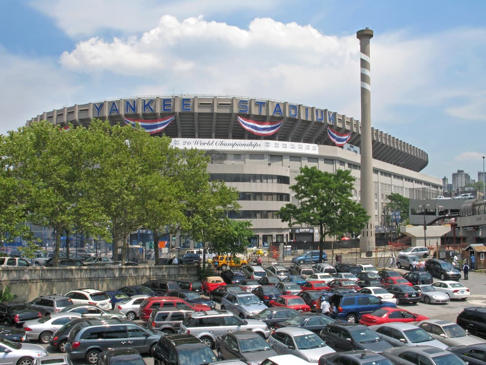 yankee stadium as seen from the parking lot in new york city